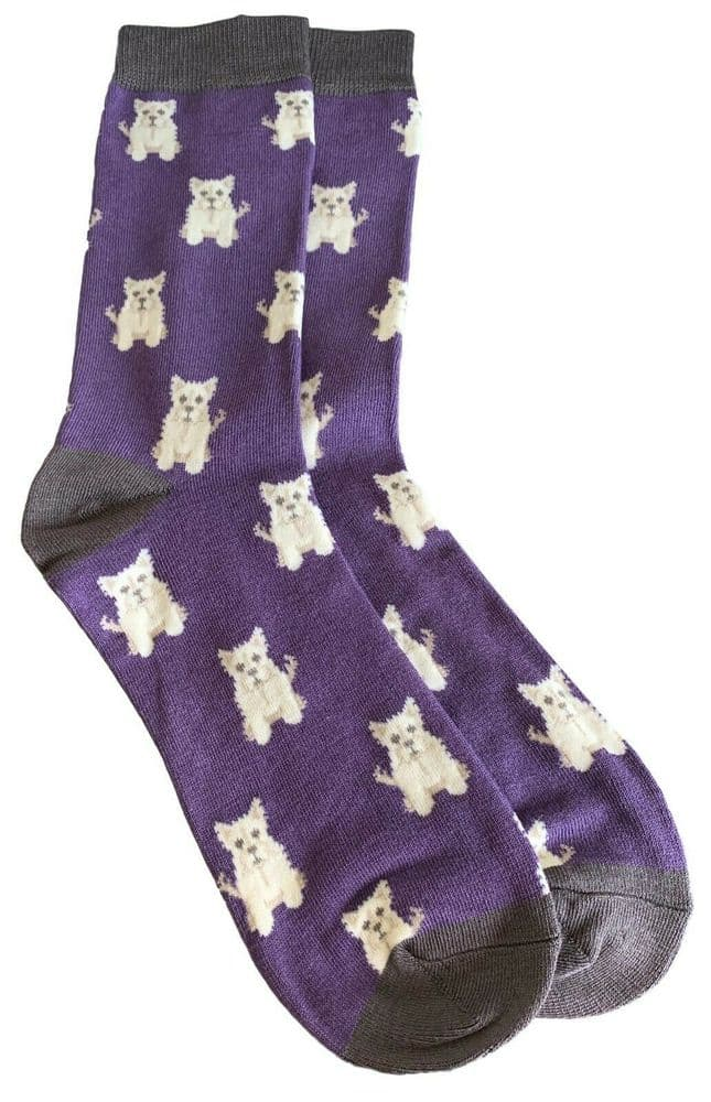 Westie Dog Socks Mens Novelty Fun Dogs Print Purple Grey West Highland Terriers
